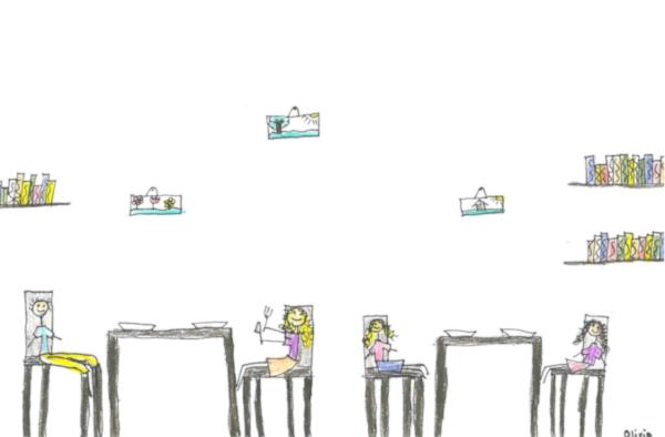 Kinderzeichnung, die Kinder beim Mittagessen zeigt