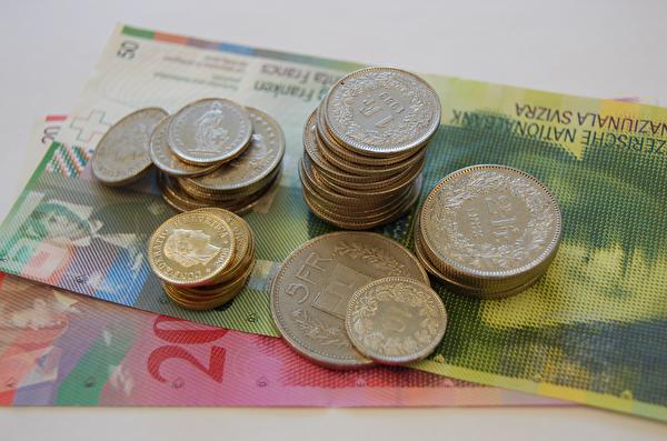 Münzen und Noten in Schweizer Franken