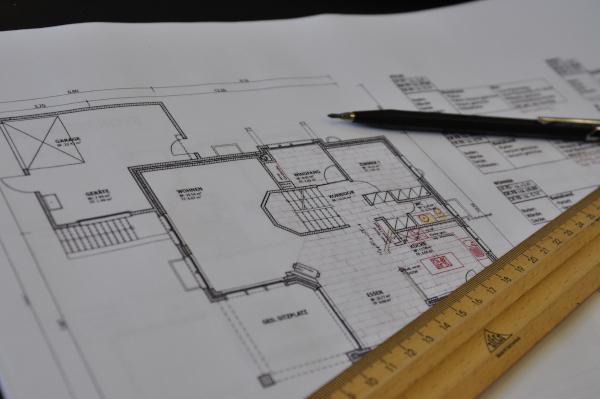 Grundriss einer Wohnung auf Papier