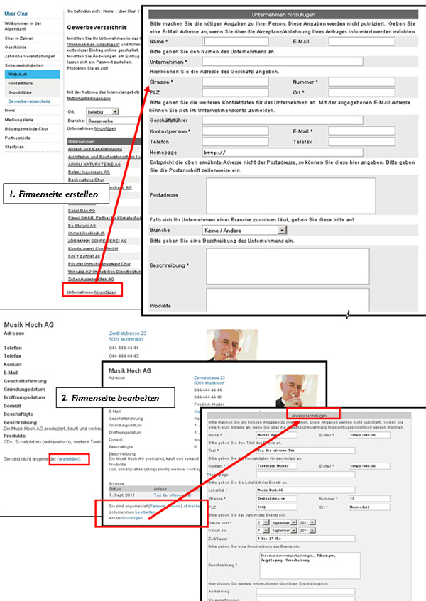 Funktionen des Unternehmenskontos