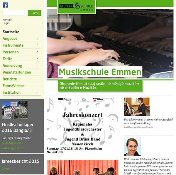 Website der Musikschule Emmen