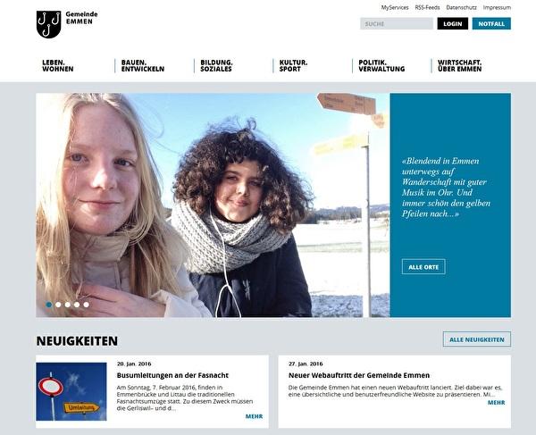 Neue Website der Gemeinde Emmen