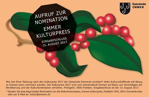 Ausschreibung Emmer Kulturpreis 2017
