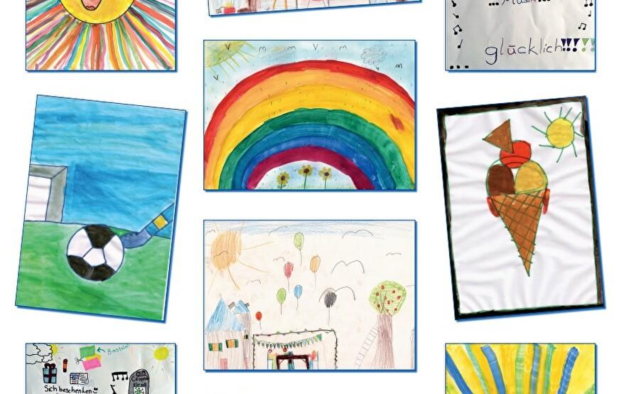 Kinderzeichnungen zum Thema Glück