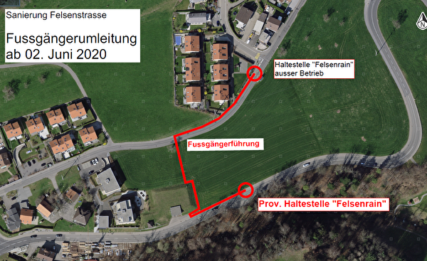 Im Rahmen der zweiten Etappe der Bauarbeiten an der Felsenstrasse wird die Bushaltestelle Felsenrain ab Dienstag, 2. Juni, an die Hauptstrasse verschoben.