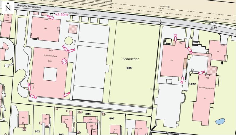 Übersichtsplan Videoüberwachung Schulanlagen der Gemeinde Pfungen