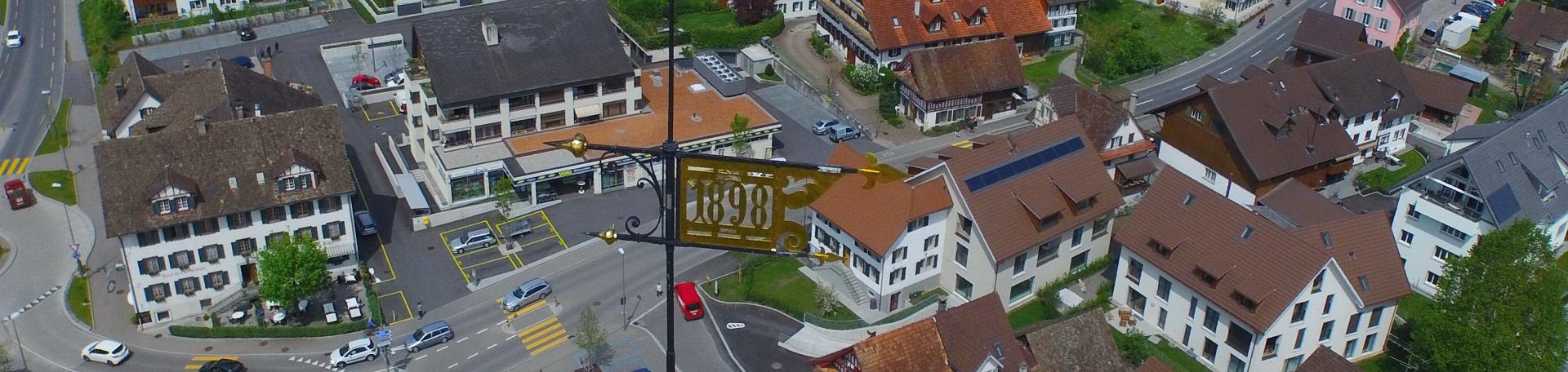 Luftaufnahme Dorfzentrum vom Kirchenturm aus