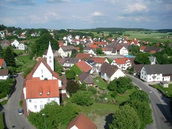 Ansicht Kirche von Bonstetten, Deutschland