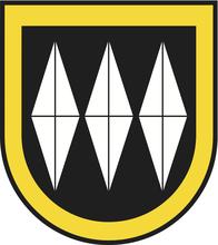 aktuelles Gemeindewappen Bonstetten, gelb, schwarz, weiss