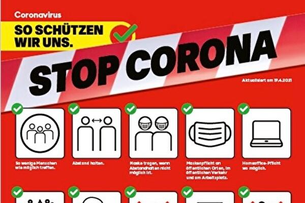 Stop Corona Plakat rot so schützen wir uns