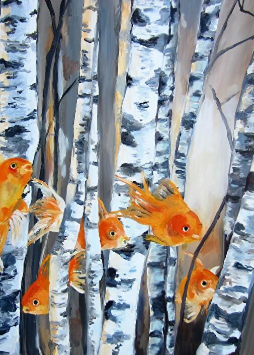Fische im Birkenwald