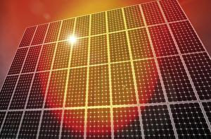 Wand mit Photovoltaikanlagen
