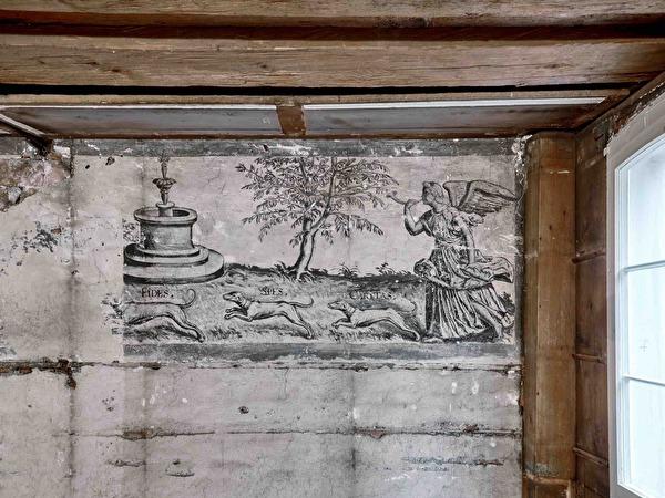 Engel Gabriel jagt mit den Hunden Fides, Spes und Caritas ein Einhorn.