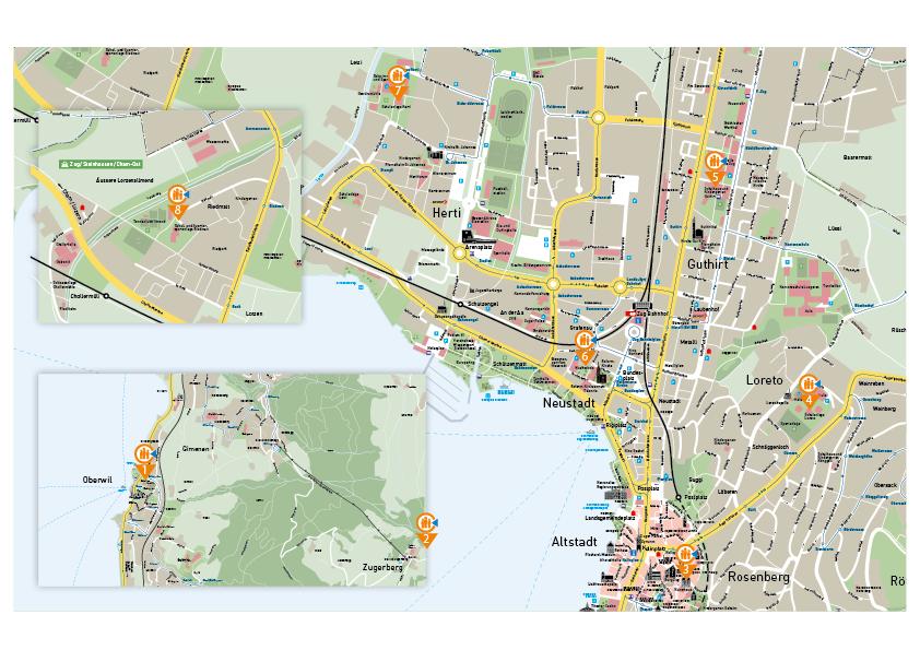Karte mit eingezeichneten Notfalltreffpunkten