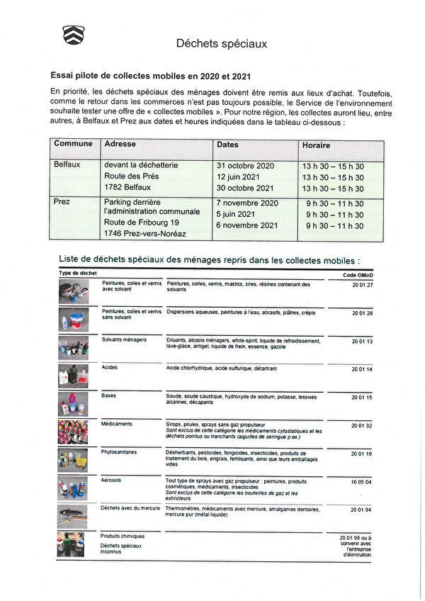 Déchets spéciaux - Essai pilote de collectes en 2020 et 2021