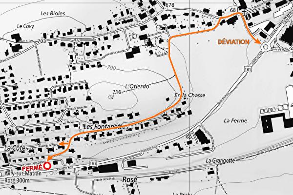 Fermeture au trafic du carrefour Rosé/Fontanettes