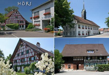 Alte Riegelhäuser und das Türmlihaus von Höri