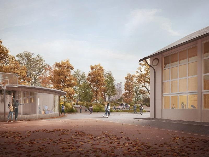 Schulanlage Berg Feld Thalwil_Visualisierung Allwetterplatz