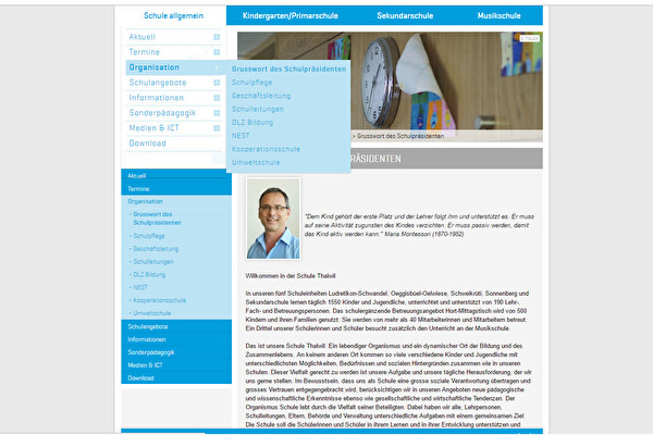 Webpage der Schule Thalwil