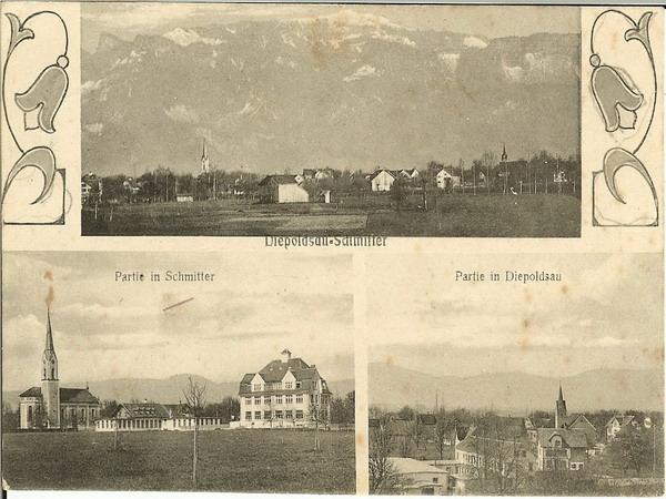 Postkarte mit 3 Dorfbildern