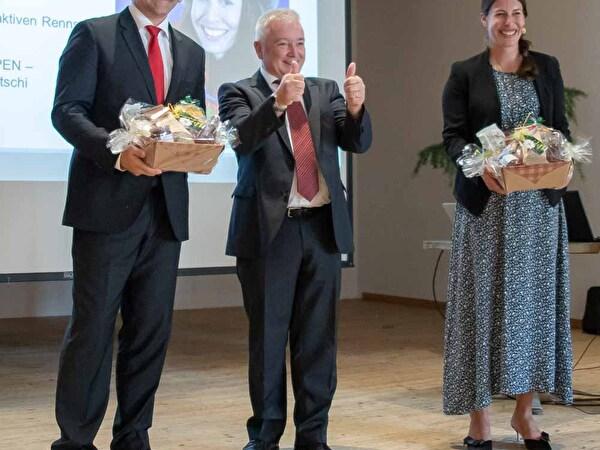 Titelbild Unternehmerfrühstück, Roland Wälter mit Dominique Gisin und Dr. Christian Marcolli