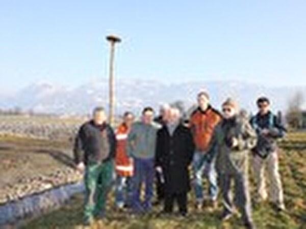 Gruppenfoto des Bautrupps des Vereins Rheintaler Storch