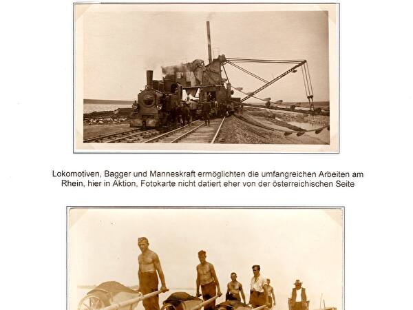 Postkarten Arbeiten am Rhein
