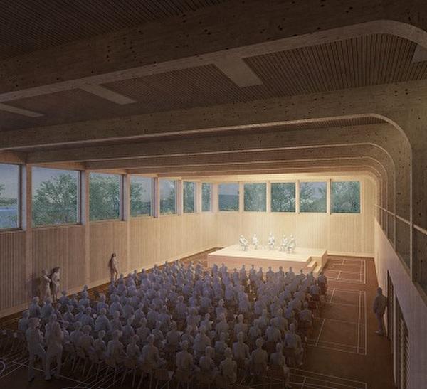 Visualisierung eines Podiums in der Mehrzweckhalle