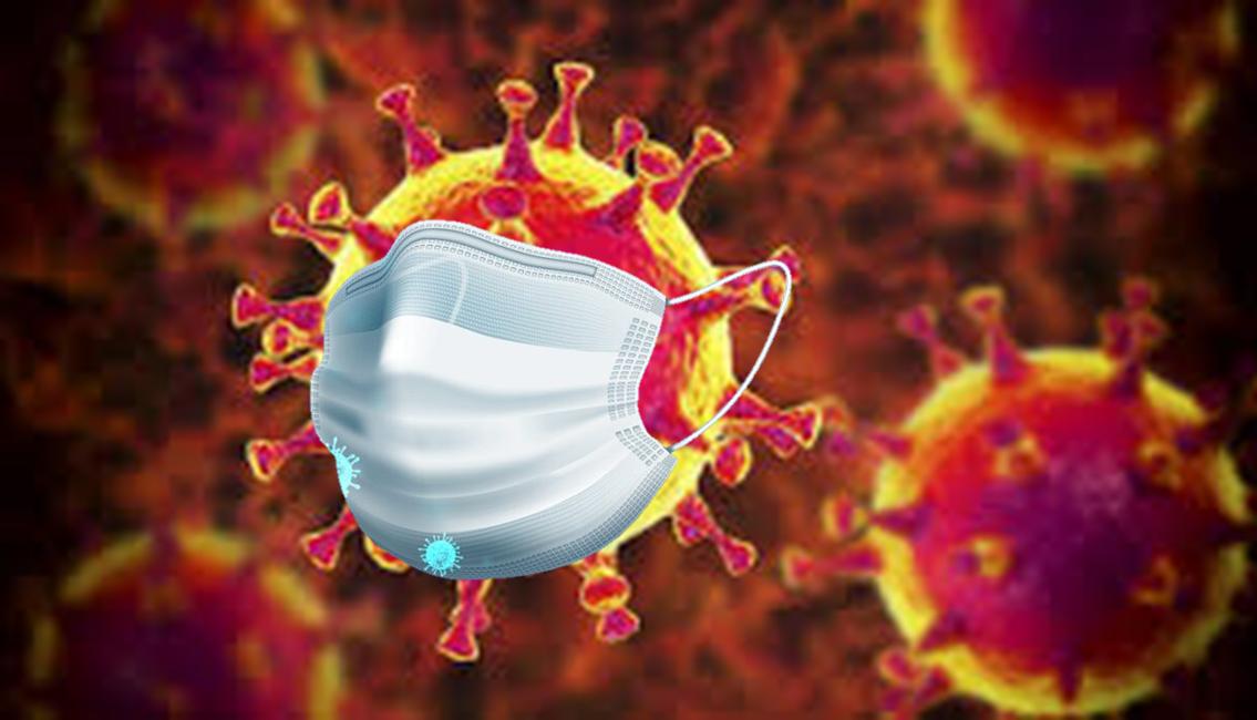 Covid-19-Virus mit Schutzmaske