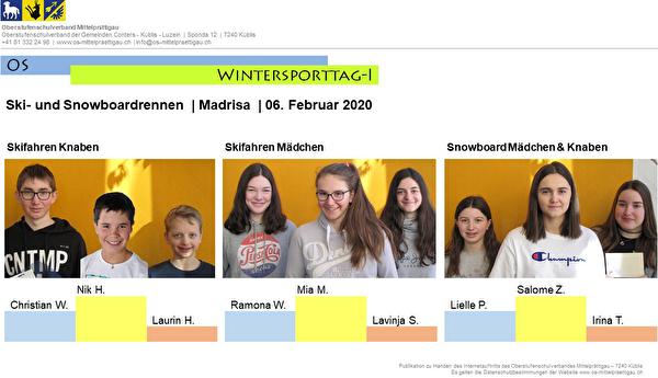 Rangliste Ski- und Snowboardrennen Madrisa 2020