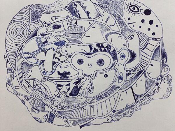 Titelbild Kugelschreiberzeichnung