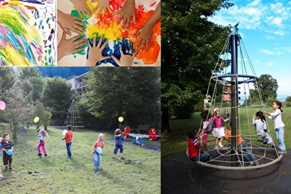 Kinderhände, bunte Farben, auf dem Spielplatz, Klettergerüst