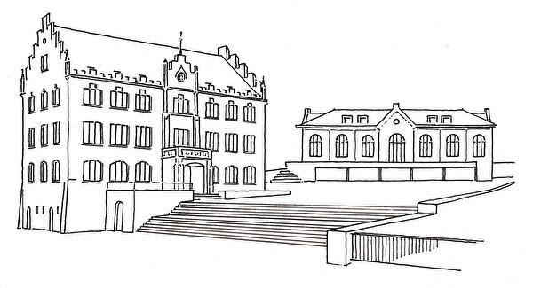 Schulhaus mit Treppen, Turnhalle und Burgbachsaal