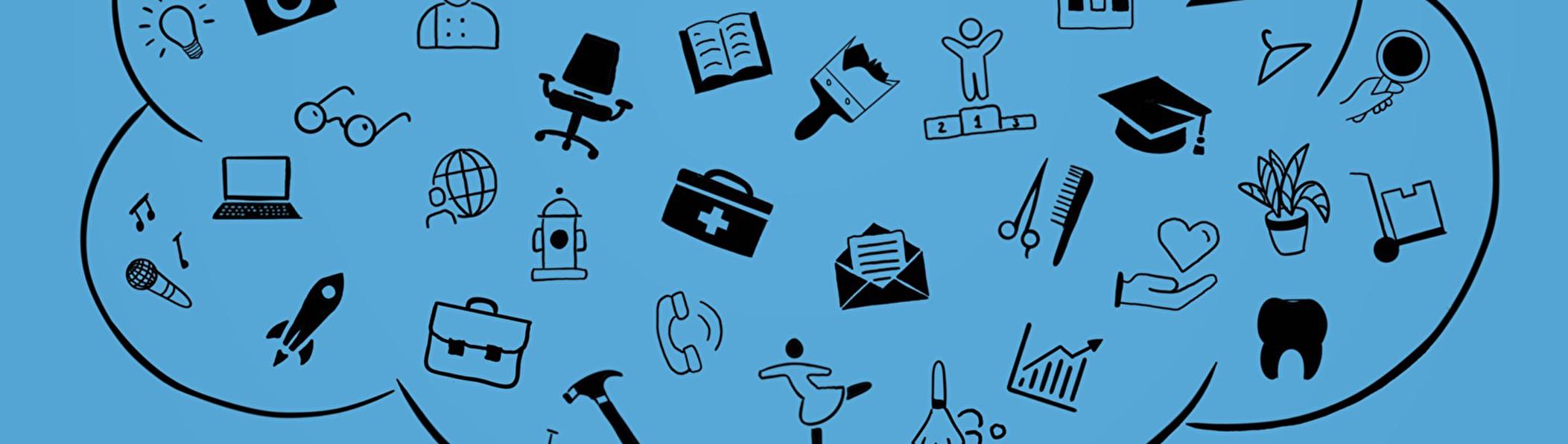 verschiedene Piktogramme zu Berufen