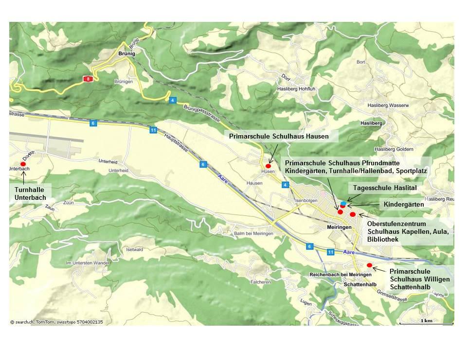 Kartenausschnitt mit Lageplan der Schulhäuser