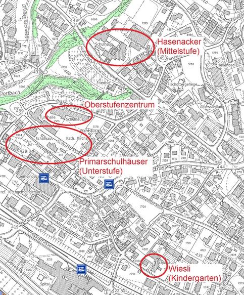 Lageplan der Schulhäuser