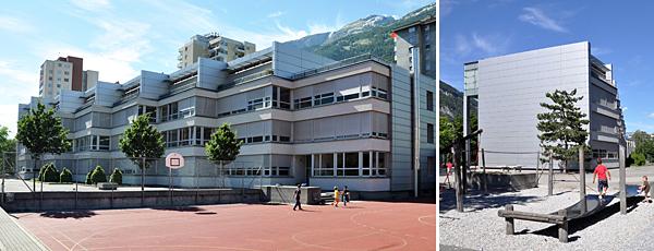 Schulhaus Rheinau, ein moderner Schultrakt in Grauton empfängt die Besucher auf einer grosszügigen Anlage mit Grünflächen, Spielplatz und Allwetterplatz.