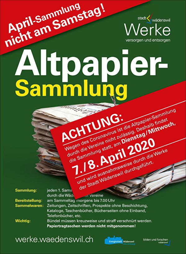 April Sammlung nicht am Samstag