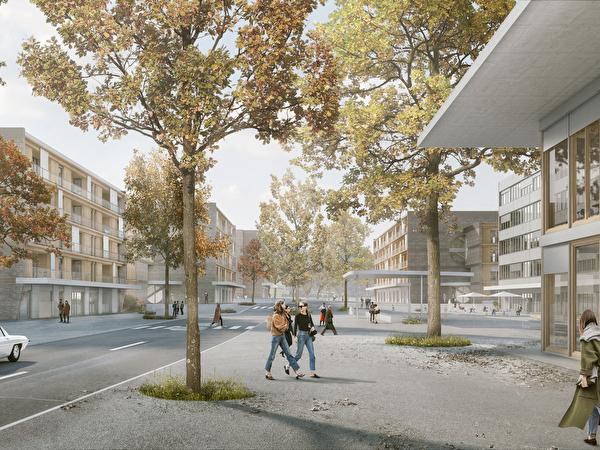 Blick in verlängerte Mühlegutstrasse