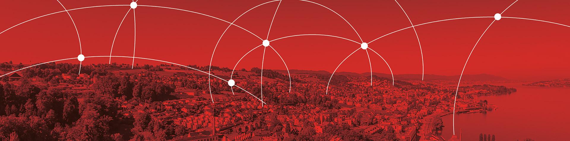 Luftaufnahme Wädenswil rot eingefärbt