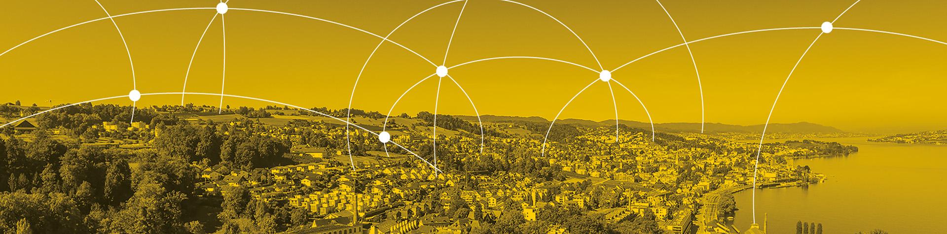 Luftaufnahme Wädenswil gelb eingefärbt
